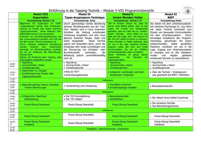 Programm Die Tapping-Technik Module VIII - XI