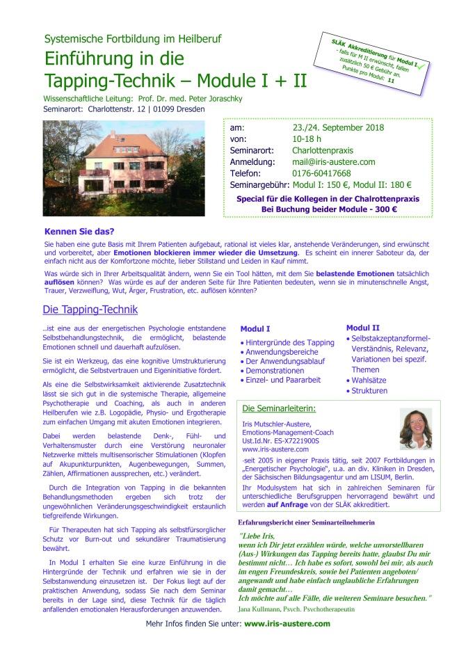 Ausschreibung Die Tapping-Technik i.d. Praxis M I u. II Sept. 20
